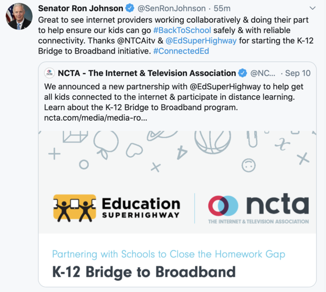 Tweet on helping students get internet connectivity