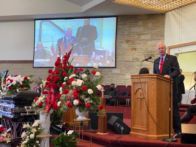 Ron Johnson at Pastor Smith funeral