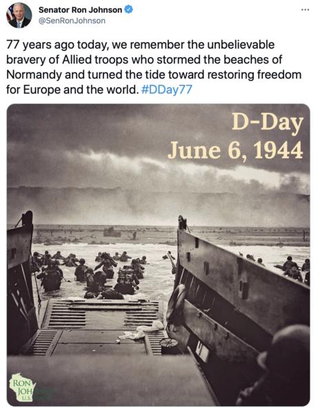 Tweet about DDay 77 anniversary