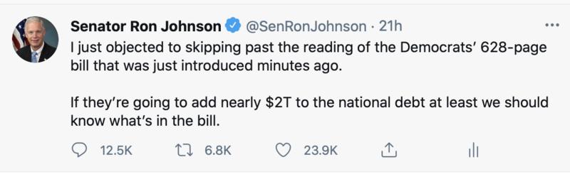Tweet about $1.9 trillion bill