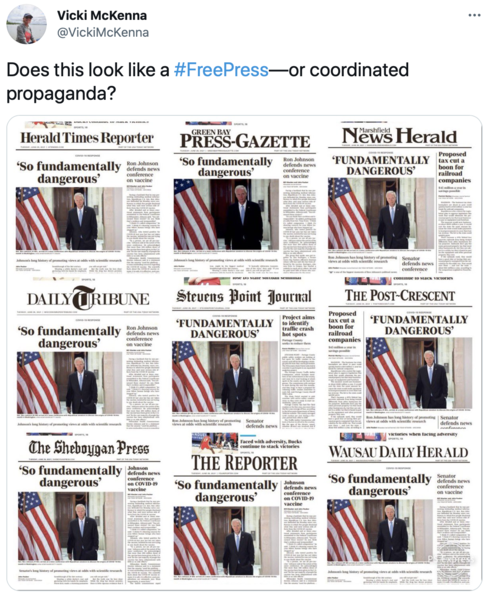 front page of state newspapers